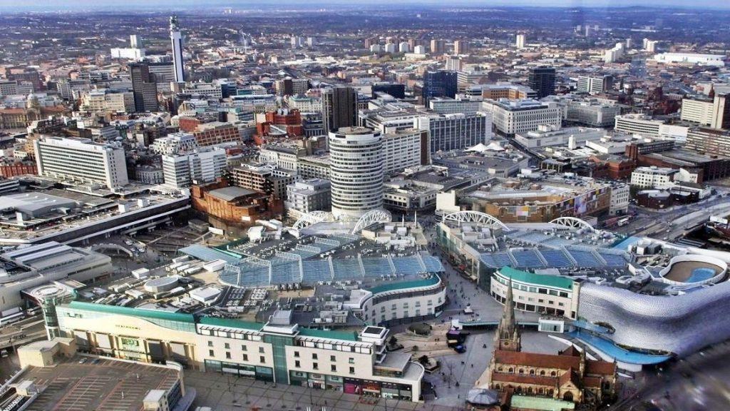 birdseye view of Birmingham