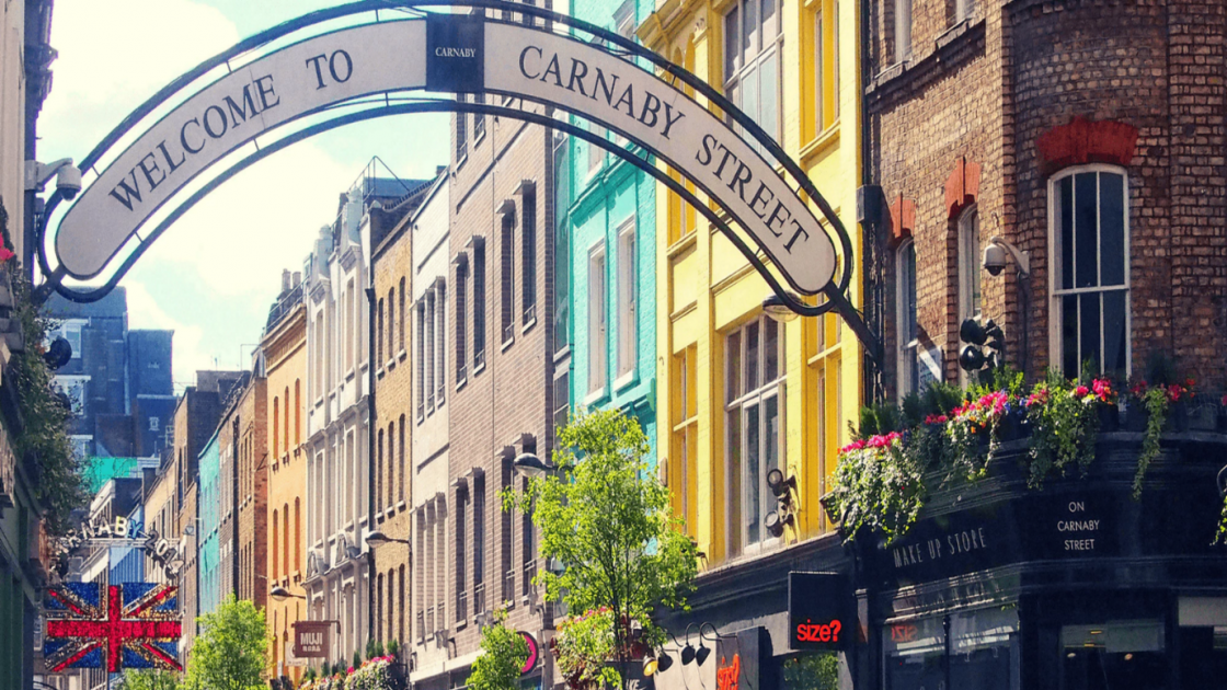 Colourful buildings in Carnaby Street London.